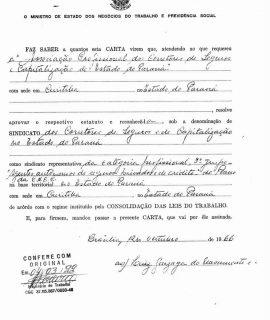 Carta sindical emitida pelo Ministério do Trabalho em 1966